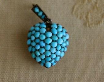 Victorian Turquoise Puffy Heart Locket Pendant