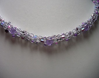 Silver, purple and lavender necklace with a beautiful sparkle, lavender beads, purple glass beads, seed beads, choker, short necklace