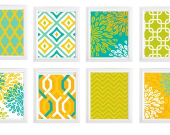 Flower burst and geometric patterns  chevron/ diamond digital print wall decor- Choose any  (6)