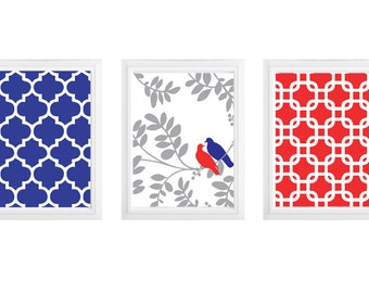 Love Birds on a branch red and blue wall decor - :) set of 3