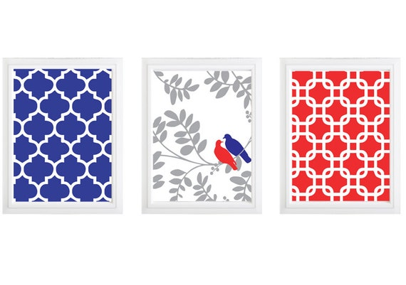 Red Love Wall Decor : Love birds on a branch red and blue wall decor set of