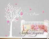 Nursery Wall Decals. Owl Tree Wall Decal with birds and custom name. Wall decal for boys and girls nursery.