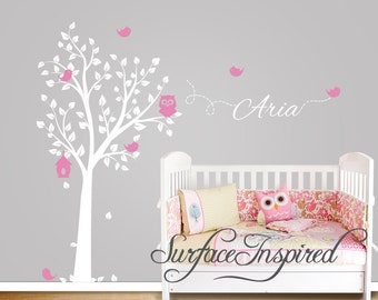 Nursery Wall Decals. Owl Tree Wall Decal with birds and custom name. Wall decal for boys and girls nursery...