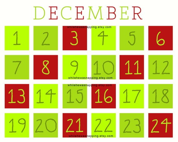 Christmas Countdown Printable Calendar with Activities - Instant ...