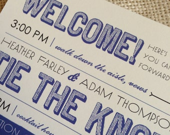 NEW - Modern Wedding Ceremony Programs - 5x7 Flat Double-Sided Design - Custom Colors Available