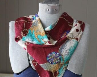 Triangle Vintage Heraldic Scarf / Burgundy Cream Aqua Silk Scarf with clasp / 80s Historical Scarf