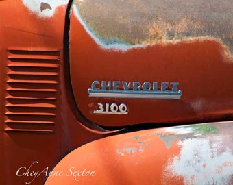 3100 Orange Chevrolet Truck Ornament Emblem Vintage 1953 Chevy Pickup Antique Tangerine Pickup Rusted City Truck  photograph 8x12 art print