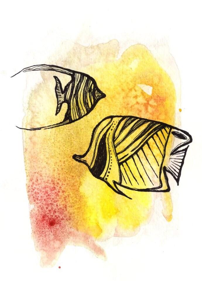 Tropical Fish Painting Tropical Fish Watercolor Angelfish