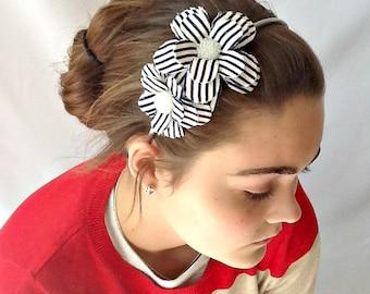 Shabby Striped Double Daisy Headband