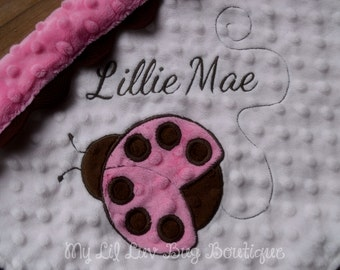 Baby Blanket Personalized Minky-pink and brown Ladybug- lovey blanket