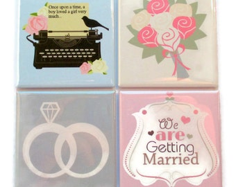 Bridal Shower Magnets - Happy Couple - 2 Inch Square Magnets