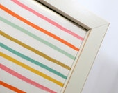Wall Decor - LARGE Magnet Board - Magnetic Memo Board - Dry Erase Board - Framed Bulletin Board - Colorful Stripes Design - includes magnets