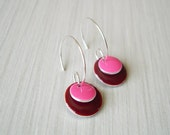Enamel  Earrings,  Modern  Jewelry, Pink,  Maroon,  Oxblood,  Silver  Hoops,  Geometric, Contemporary