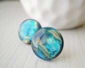 Nickel Free Jewelry - Blue Post Earrings,Titanium Studs, Galaxy, Planetary, Planet, Marbled, Vintage Cabs