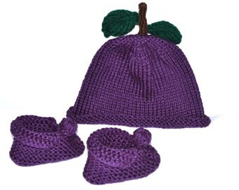 Hand knit baby acrylic purple 0-3m set plum hat and booties. Halloween costume Made in USA Colorado