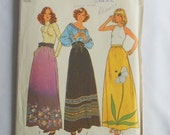 Vintage 1975 Simplicity Sewing Pattern 7190 Size 16 for Classic Gathered A Line Maxi Skirt with Variations