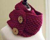 Women's Knit Infinity Scarf with Raspberry Stitch and Coconut Shell Buttons in Bright Fuchsia, Magenta