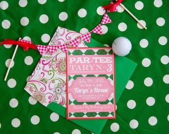 CUSTOM Girl's Golf Birthday Invitation