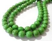 Green Howlite Round Beads - Apple Green Gemstone Beads - Brown Matrix Smooth - 8mm - DIY Jewelry Making, Craft Supplies