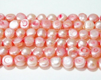 "Pink Pearl Beads - Freshwater Flat Sided Potato Pearl - Genuine Natural Pearl - Bridal Wedding Jewelry Making - 17"" Strand 4mm-5mm"