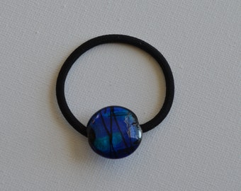 Blue with metallic shimmer round glass bead, ponytail holder