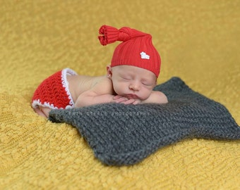 Newborn Valentine's Day Upcycled Top Knot Hat - Ready to Ship - Upcycled Newborn Hat - Red Hat with Heart Patch - Newborn - Photography Prop