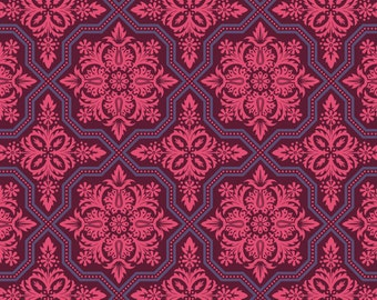 SALE ! Half yard cut -Joel Dewberry Heirloom- JD49 Tile Flourish Garnet