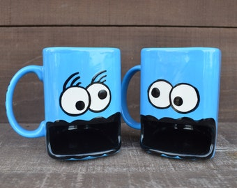 His and Hers Mug Set - Googly Eyed Monster Dunk Mug - Ceramic Cookie and Milk Mug - Made to Order