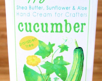 Cucumber Light Scent Hand Cream for Knitters - 8oz Jumbo HAPPY HANDS Shea Butter Hand Lotion Paraben-Free