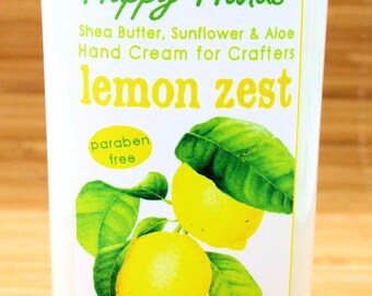 Lemon Zest Scented Hand Cream for Knitters and Crafters - 4oz Medium - Happy Hands Shea Butter Hand Lotion