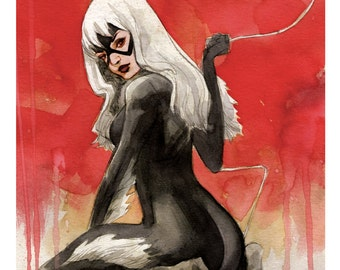 Black Cat spiderman art print 11x17 BRETT WELDELE