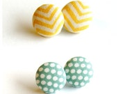 RESERVED LISTING for JODIANN Yellow and Blue Fabric Buttons - Set of Five