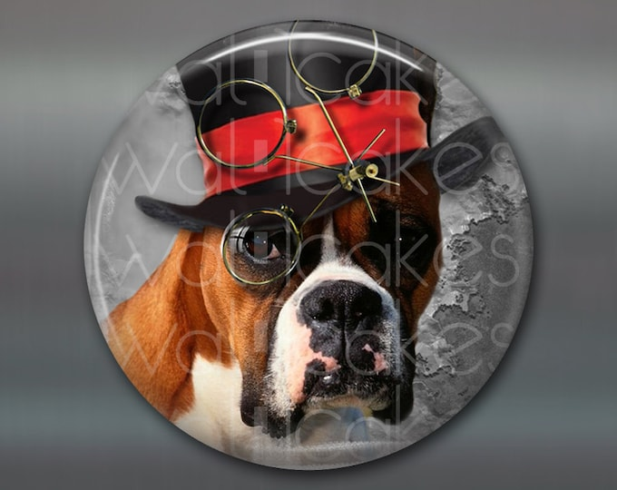 Refrigerator Magnets, steampunk dog magnet, boxer dog decor, kitchen decor, large fridge magnet, housewarming gift steampunk decor  MA-1005