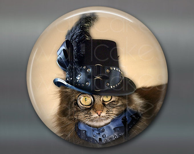 "3.5"" steampunk cat magnet, cat decor, steam punk decor, cat fridge magnet kitchen decor, large fridge magnet, housewarming gift  MA-1021"