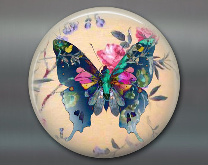 "3.5"" butterfly refrigerator magnet butterfly decor, cottage chic spring decor, kitchen decor, large magnet stocking stuffer MA-361"