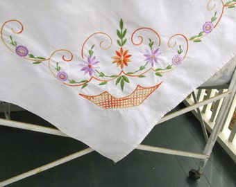 Vintage Ivory Linen Tablecloth Embroidered, Floral