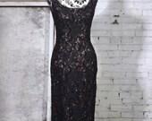 70% off 1970s Black Lace Sequin Full Length Column Dress