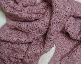 """Luxuriously Soft, Very Light and Warm,  Hand Made  Wool/Cashmere Scarf (17""""x73"""")"""