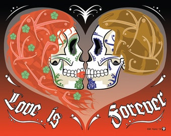 Sugar Skull Couple Love Print 11x14 print