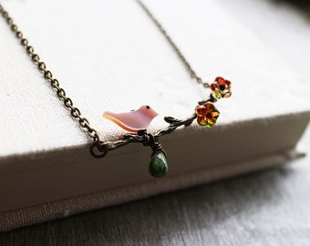 Fall Twig Necklace. birch tree ncklace. branch charm. woodland forest jewelry.little pink bird on branch necklace. fall. forest berry