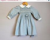 SALE 20% OFF Smocked Dress Vintage Little Girl's Polly Flinders Blue 4