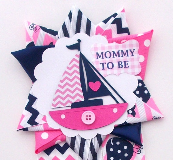 nautical girl baby shower corsage sailboat theme in pink and navy