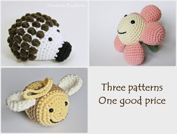 Crochet toy patterns - hedgehog, bee and flower