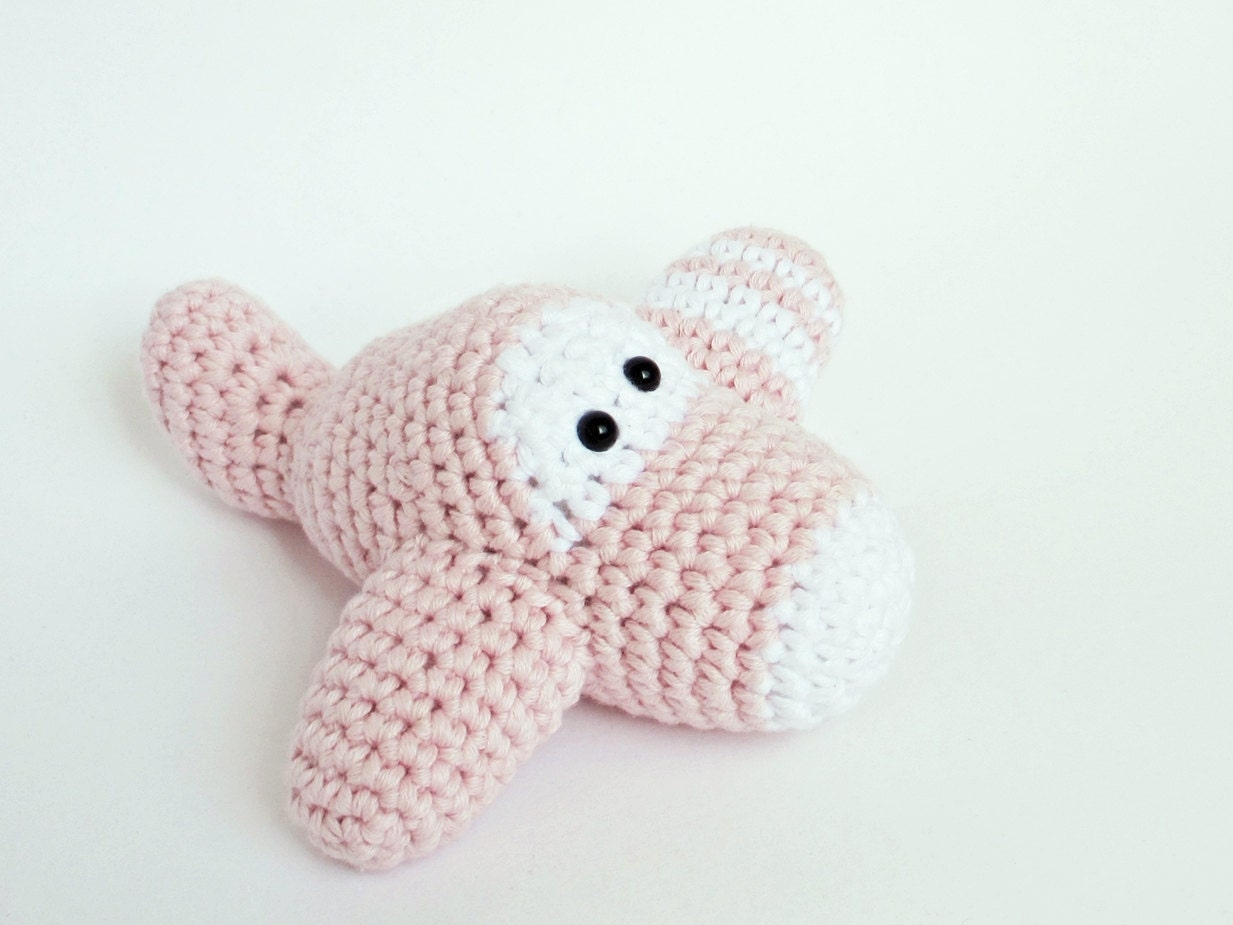 Amigurumi Plane Baby Mobile : Amigurumi Crochet Airplane Baby Rattle Toy organic cotton