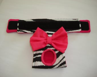 Zebra Striped Panty with Hot Pink or Purple  Bow - Female Dog Diaper - Dog Panties