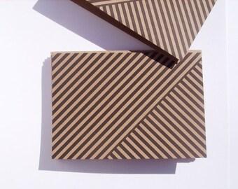 Geometric Note Cards - Modern Black Stripe Stationery, Geometric Thank You Notes, Kraft Paper Note Card Set Black Stripes, Rustic Minimalist