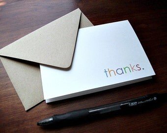 Thank You Notes - Modern Thank You Card Set, Simple Thanks, Typography Stationery, Minimalist Design, Thank You Cards, Multi-Colored Thanks