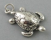 Sterling Silver Large Charm Pendant SEA TURTLE Nautical Ocean Beach