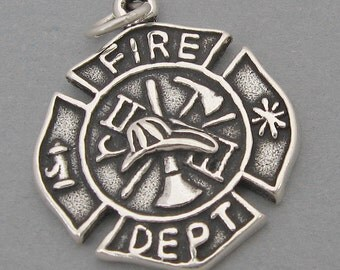 Sterling Silver 925 Charm Pendant Fire Department FIREFIGHTER BADGE