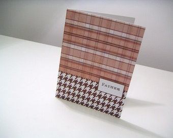 Brown Plaid and Houndstooth One of a Kind Masculine Handmade Stamped Greeting Card - Father